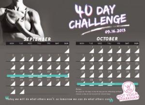 40 day calendar sample small